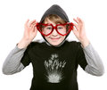 On white background boy was joking smile puts a heart shaped gla the glasses Royalty Free Stock Photos