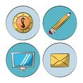 White background with colorful circles with marketing icons how lcd monitor and money and pencil and mail Royalty Free Stock Photo
