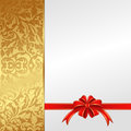White background gold with bow for gifts Royalty Free Stock Photos