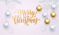 2017 Happy New Year greeting card with golden christmas ball and snowflake on black background.
