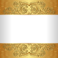 White background with golden ornaments Royalty Free Stock Photo