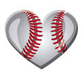 white background of heart with texture of baseball ball