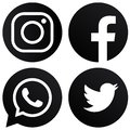White background rounded black & white Facebook Instagram Twitter Whats-app logos