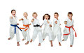 On a white background six athletes hit a punch arm Stock Photography