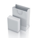 White bag and rectangle box isometric right view. Royalty Free Stock Image