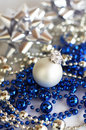 White ball with silver and blue decoration Royalty Free Stock Photo
