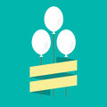 White balloons against green background illustration Royalty Free Stock Photo
