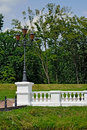 White balustrade in the old park beautiful Stock Images
