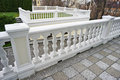 White balustrade with pillar outdoor Stock Images