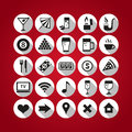 White bar icons set on red background Royalty Free Stock Photo