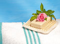 White bath towel with an exfoliation pad Stock Photography