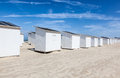 White beach cottages rows of in oostende belgium Royalty Free Stock Image