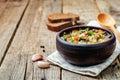 White bean soup mushrooms Royalty Free Stock Photo