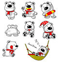 White Bear cartoon collection Royalty Free Stock Photo
