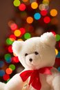 White bear image of soft toy on sparkling background Stock Photography