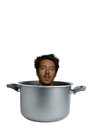 White beard man cooked being in a cooking pot Stock Photography