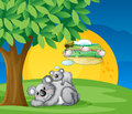 White bears illustration of sitting and thinking under tree Royalty Free Stock Images