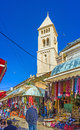 The white belfry jerusalem israel february stone of lutheran kirche rises over stalls of aftimos suq on february in Royalty Free Stock Photo