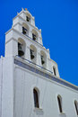 White bell tower at the island of santorini greece Stock Photography