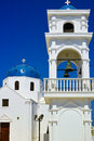 White bell tower at the island of santorini greece Royalty Free Stock Photos