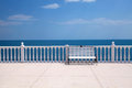 White bench balustrade and empty terrace overlooking the sea summer view with classic italy Stock Photography