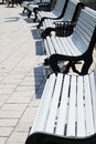 White benches in a park Stock Photography