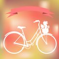 White bicycle on the colorful blured background