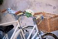 White Bicycles with Basket Royalty Free Stock Image
