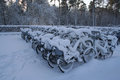 White bikes you can borrow for free covered in snow Stock Photography