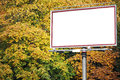 White billboard at the park with space for your advertisement Royalty Free Stock Photo