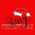 White and black hand drawn grunge lettering and christmas style font on red background. Silhouette of Santa Claus hat Royalty Free Stock Photo