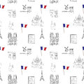 White and black Paris vector seamless pattern hand-drawn landmarks illustration colored background