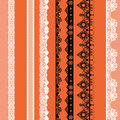 White and black seamless lace pattern on orange background Stock Photography