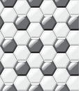 White and black tiles floor, hexagons, realistic seamless pattern