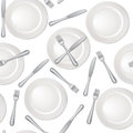 White blank chine plate isolated seamless background fork and knife pattern restaurant banquet vector illustration Royalty Free Stock Photography