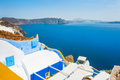 White blue architecture on santorini island greece beautiful landscape with sea view Royalty Free Stock Images
