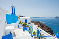 White blue architecture on santorini island greece beautiful landscape with sea view Stock Photo