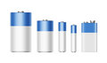 White Blue Batteries AAA, AA, C, D, PP3, 9 Volt