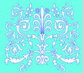 White on blue curled ornament Royalty Free Stock Photo