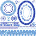 White-blue decorative frame and patterns Stock Photo
