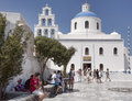 White-blue dome of the Orthodox church in Oia, Santorini, Greece Royalty Free Stock Photo
