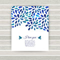 White and blue flower ornament greeting card .Vector gzhel. Vect Royalty Free Stock Photo