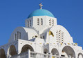 White and blue greek church orthodox profitis ilias in keratea greece Stock Photos
