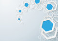 White and blue hexagons dust on the grey background eps vector file Stock Photos