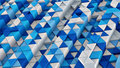 White and blue linear extruded triangles abstract 3D render