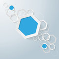 White and blue paper hexagons line infographic design with on the grey background eps vector file Stock Image