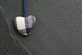 White Blue pattern Love Valentine's heart hanging on grey slate