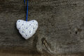 White Blue pattern Love Valentine's heart hanging on wooden text