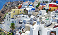 White blue santorini view caldera domes Royalty Free Stock Images