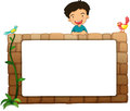 A white board a boy and birds illustration of on background Stock Photo